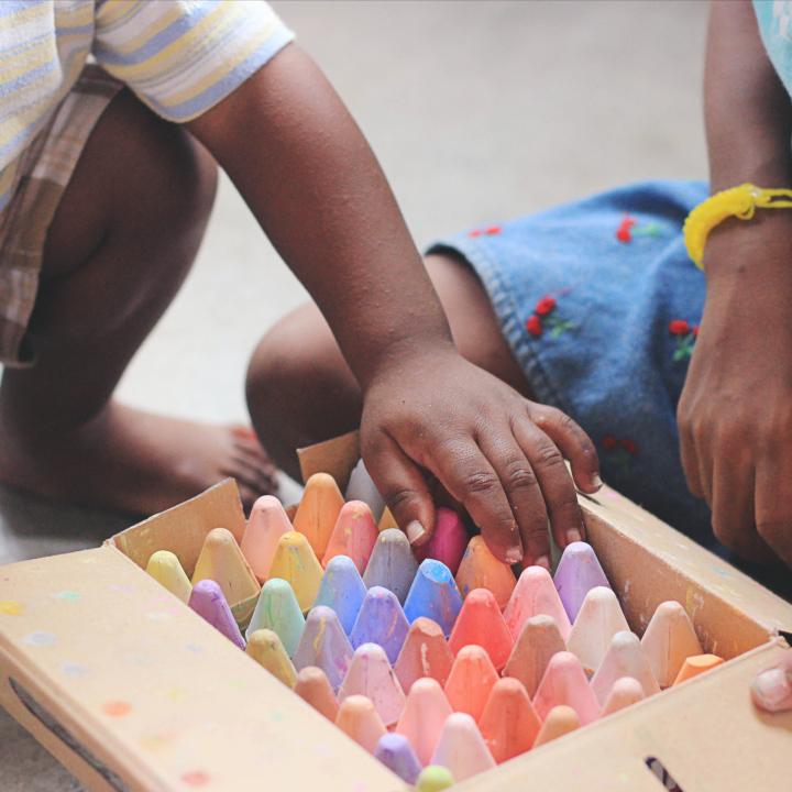 kids with chalk